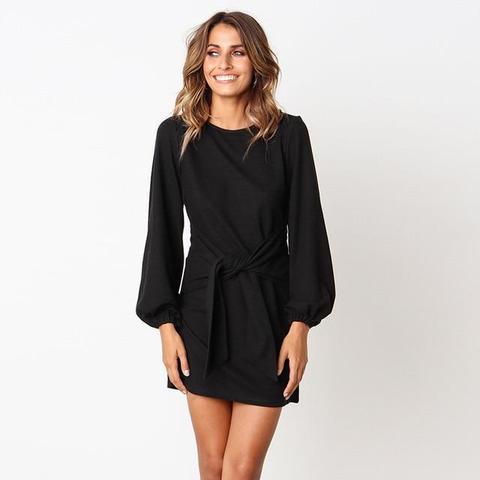Robe de Saison à Nouer Minute Mode Noir L