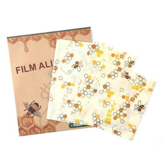 Film Alimentaire Réutilisable En Cire D'abeille Raton Malin Abeilles