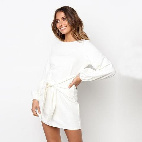 Robe de Saison à Nouer Minute Mode Blanc L
