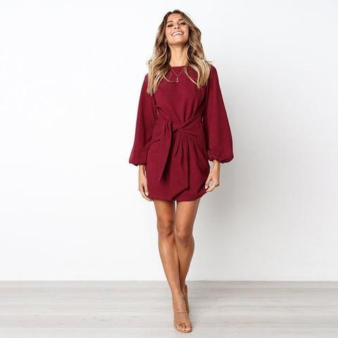Robe de Saison à Nouer Minute Mode Bordeaux L