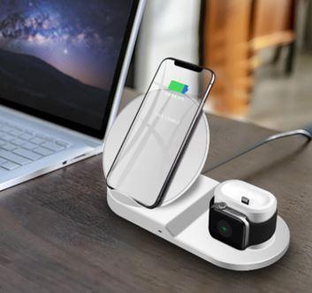 Chargeur sans fil 3 en 1 de Téléphones, Montres et Airpods raton-malin Blanc Europe