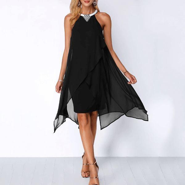 Robe Élégante à Volants Minute Mode Noir XXL