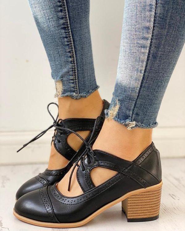 Chaussures Vintage à Talons Minute Mode Noir 36