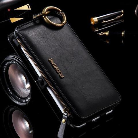 Coque Portefeuille Rétro en Cuir de Luxe pour Samsung raton-malin Noir Galaxy Note 4