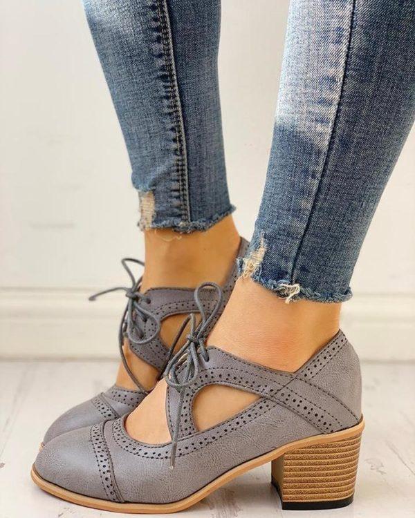 Chaussures Vintage à Talons Minute Mode Gris 36