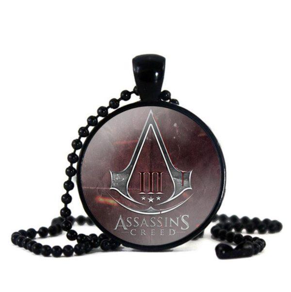Assassins Creed Verre Cabochon Pendentif Collier Noir Perle Cha icirc Collier Assassin's Creed Verre Cabochon (2 Couleurs) - Livraison Gratuite !