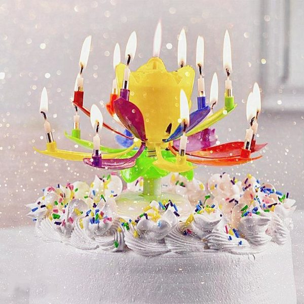 B1 777d68e4 dc8f 46ab b3d5 63a7060cf74e Bougie D'anniversaire Musicale Lotus Rotatif Multicolore