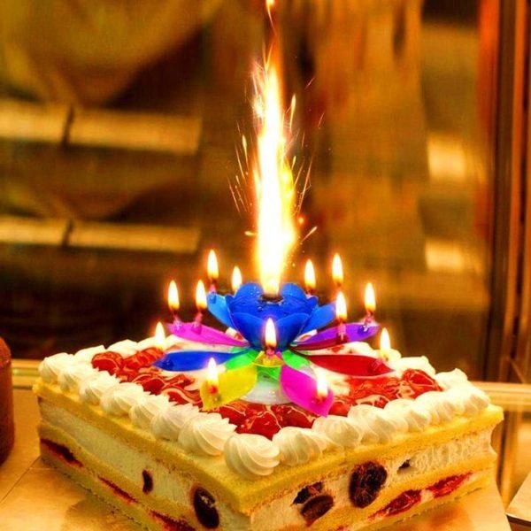 B2 7a2f1cc3 51fd 4f1a b78a cfa487a10e48 Bougie D'anniversaire Musicale Lotus Rotatif Multicolore