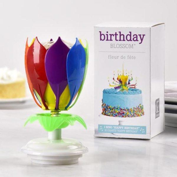 B3 d2a45fbe cb46 47c9 800f 94bfadcd5694 Bougie D'anniversaire Musicale Lotus Rotatif Multicolore