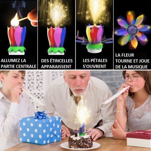B4 910609cb 5d4c 42f3 897b adaaa2bfb962 Bougie D'anniversaire Musicale Lotus Rotatif Multicolore