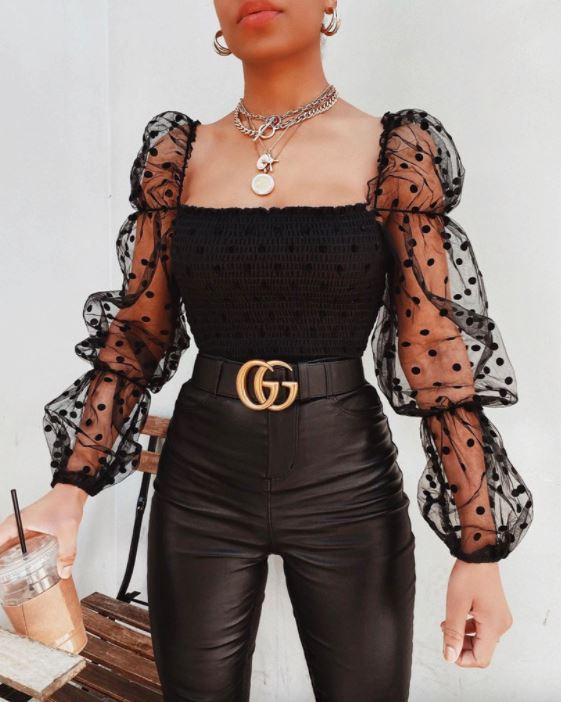 Blouse à Manches Bouffantes Site Vêtements Noir L