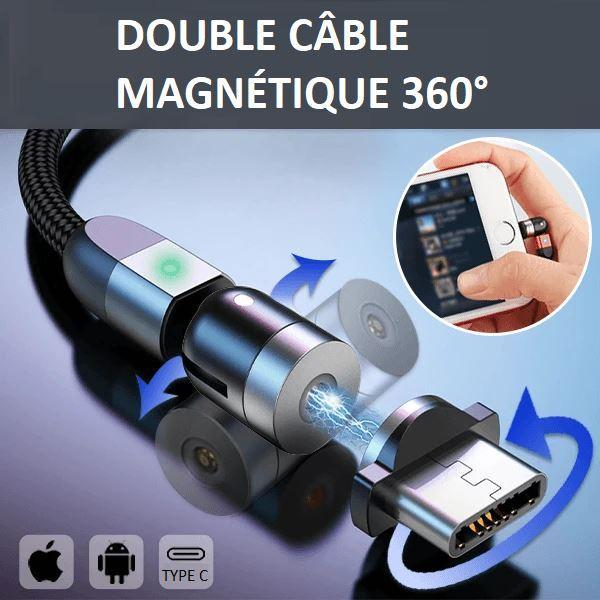 C1 2fa3c954 a691 419e b24b cc5ef4a48554 Cable Magnétique Chargement Iphone - Type C - Micro Usb 360°