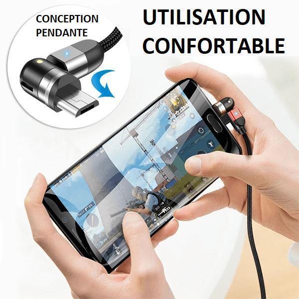 C3 60973688 de8e 42bd a1cb 8eec9fd6893b Cable Magnétique Chargement Iphone - Type C - Micro Usb 360°