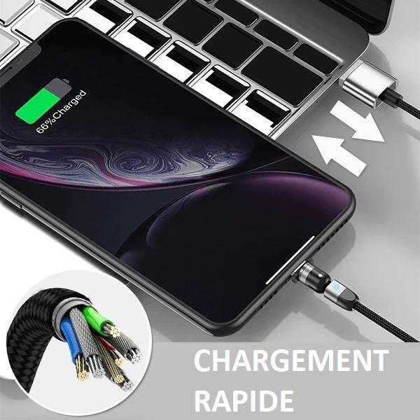 C5 608ba36a f656 4dbf b8f5 2e16db780d8a Cable Magnétique Chargement Iphone - Type C - Micro Usb 360°