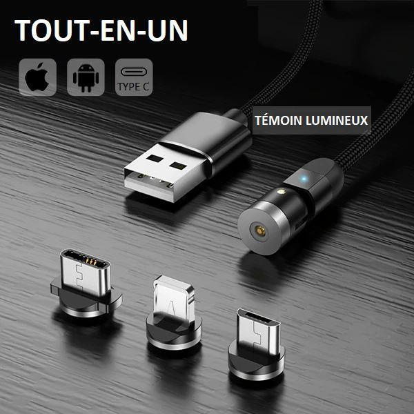 C6 587eae77 74a2 4549 81ce 6f8975f60941 Cable Magnétique Chargement Iphone - Type C - Micro Usb 360°