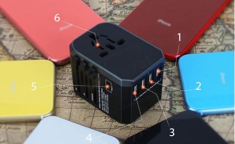 Copie de pri4 copy Adaptateur De Voyage Universel Charge Rapide Avec Ports Usb Type C