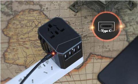 Copie de pri5 Adaptateur De Voyage Universel Charge Rapide Avec Ports Usb Type C