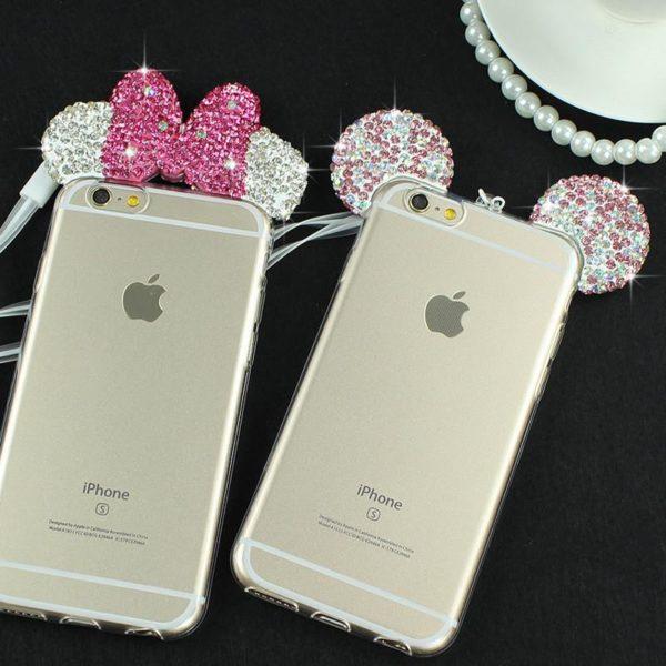 FF 92da930e 55e0 48e5 80fb 8177d750fbfb Coque Mickey Minnie Mouse Oreille En Diamant Imitation (3 Couleurs) Pour Iphone - Livraison Gratuite !