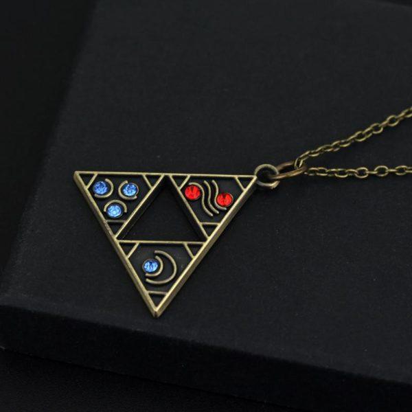 Collier Antique Zelda En Plaqué Bronze Et Cristaux - Livraison Gratuite !