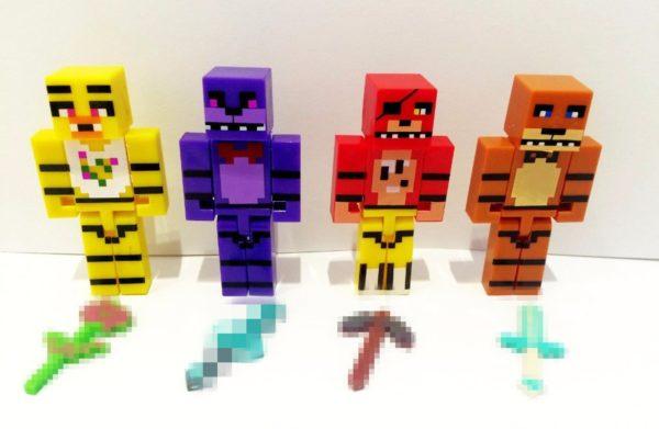 HTB18qU0KVXXXXXaapXXq6xXFXXXU 1bfe5ef8 efa9 4c34 9493 d64bc596b936 1 Lot De 4 Figurines Minecraft (Foxy Chica Bonnie Freddy ) - Livraison Gratuite !
