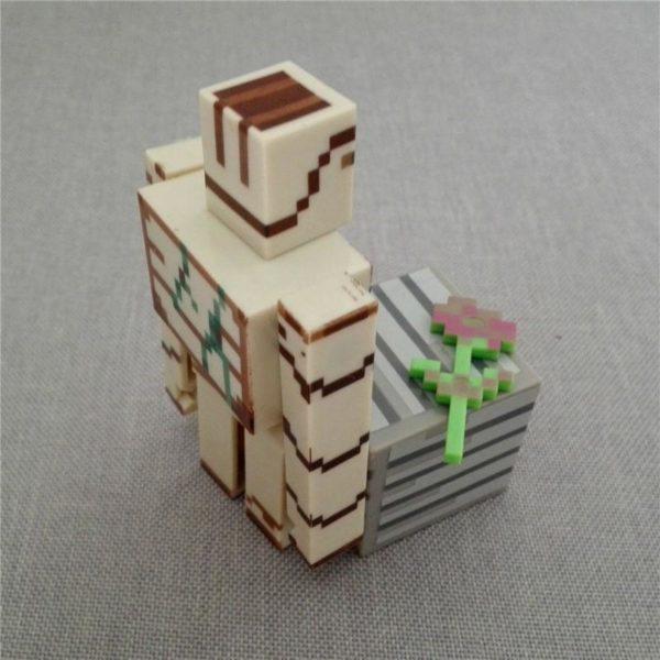 1 Lot De 3 Figurines (Iron Golem Bloc Fleur) Minecraft - Livraison Gratuite !