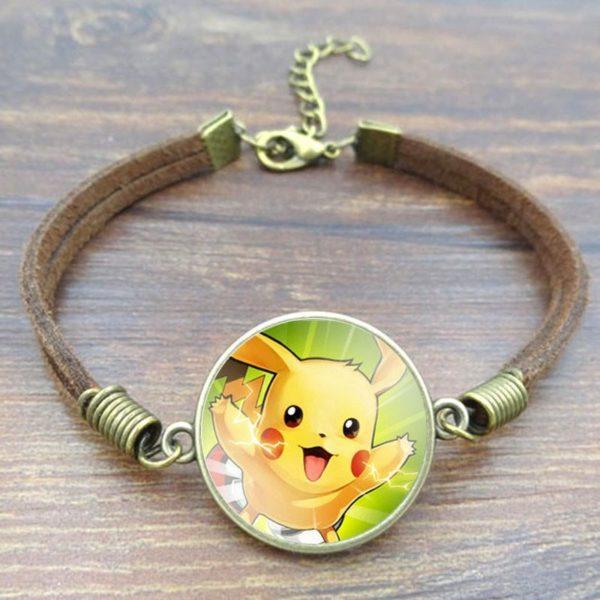 HTB1Rc33JFXXXXatXFXXq6xXFXXX5 1adb362d 3600 488d 9576 4c5a050acda6 Bracelet Pokémon Pikachu Cabochon Verre Et Chaîne En Corde - Livraison Gratuite !