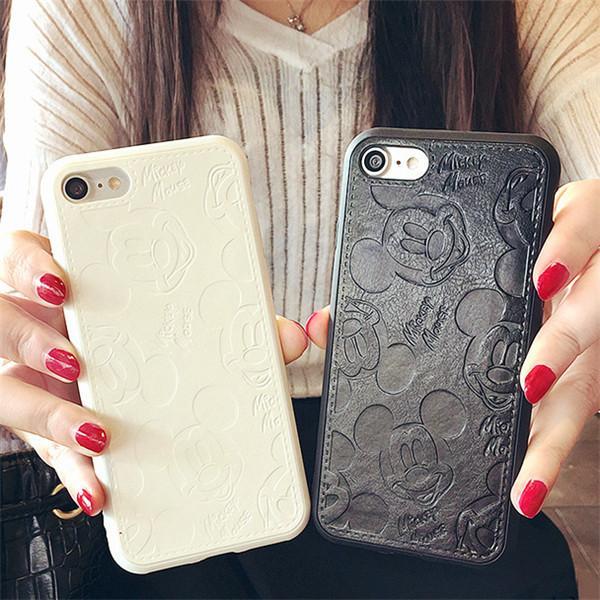 Coque En Cuir Mickey Mouse (2 Couleurs) Pour Iphone - Livraison Gratuite !