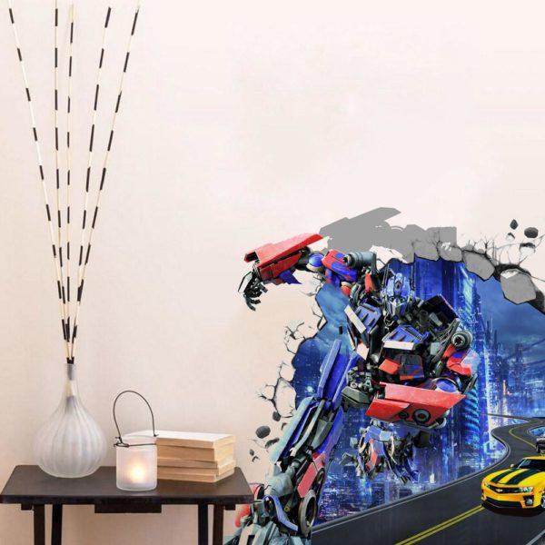 Sticker Mural Transformers En 3D - Livraison Gratuite !