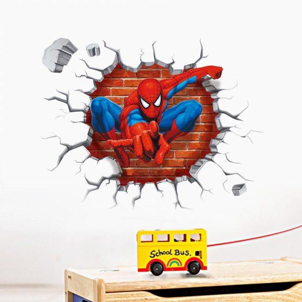 Sticker Mural Spider-Man En 3D - Livraison Gratuite !