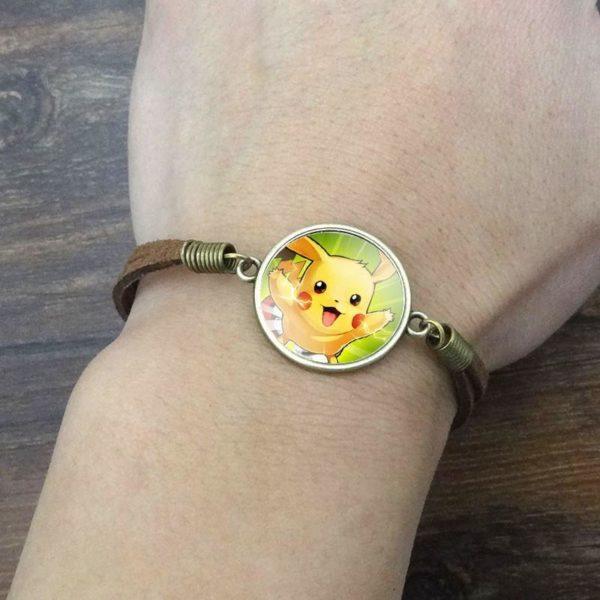 Bracelet Pokémon Pikachu Cabochon Verre Et Chaîne En Corde - Livraison Gratuite !