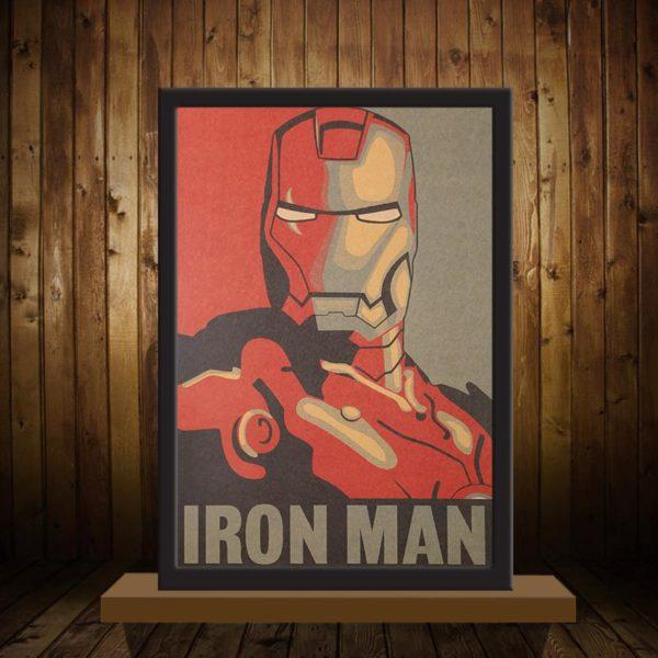 Sticker Mural Iron Man En Papier Vintage Style Rétro - Livraison Gratuite !