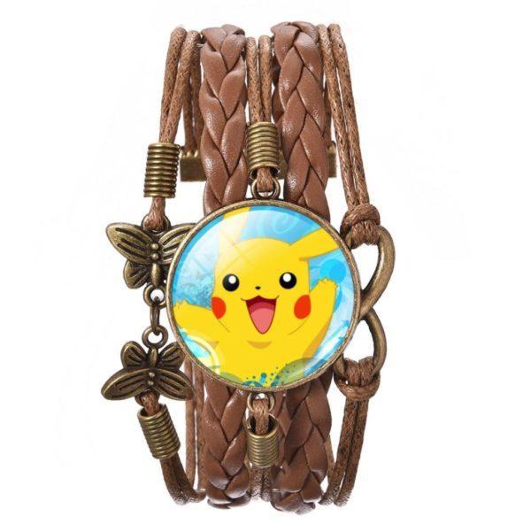 HTB1oRC4MVXXXXbhXVXXq6xXFXXXO 9999879a 49fa 4a04 a5fe 2195d6e1b036 Bracelet Wrap Pokémon Pikachu En Verre Cabochon Et En Cuir - Livraison Gratuite !