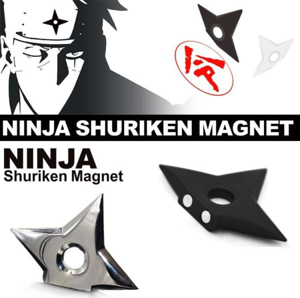 1 Lot De 2 Shuriken Magnet Frigo (2 Couleurs) Naruto - Livraison Gratuite !