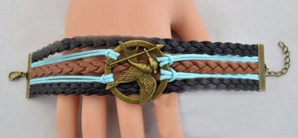 Bracelet Mockingjay Hunger Games Multi-Rangs En Cuir - Livraison Gratuite !