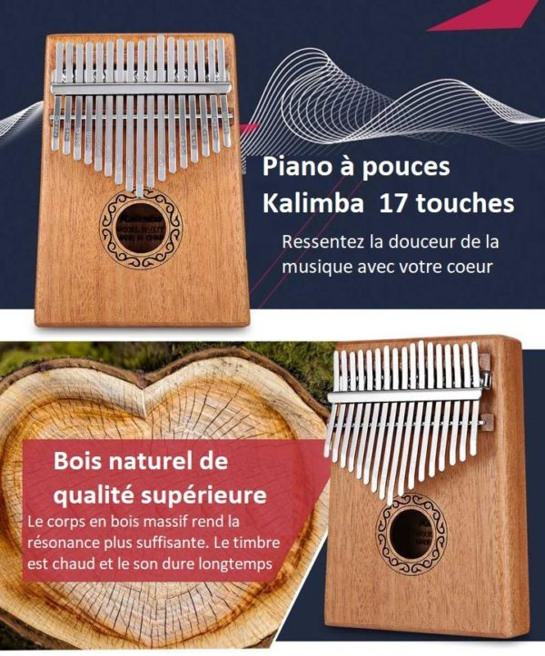 K15 Kalimba 17 Touches - Piano À Pouces En Bois D'acajou