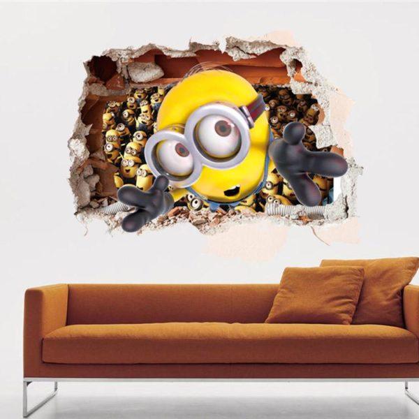 LH406 Bande Dessinee Despicable me 2 mignon minions 3D stickers muraux pour enfants chambres decoratif adesivo e5d65836 61bb 48ec a58e 8b314b0462bc Stickers Muraux Minion 3D - Livraison Gratuite !