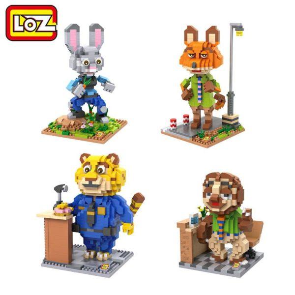 LOZ 4 Styles Zootopia D action Jouet Lapin Judy Hopps Renard Nick Wilde Paresse Flash Film Figurine Lego Zootopie (4 Personnages) - Livraison Gratuite !