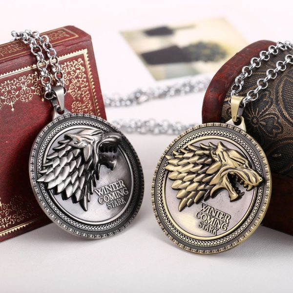 Movie Game of Thrones Vintage Jewelry House Stark wolf pendant necklace Bronze Pendants Silver Choker collier Collier Loup Winter Is Coming Stark Game Of Thrones - Livraison Gratuite !