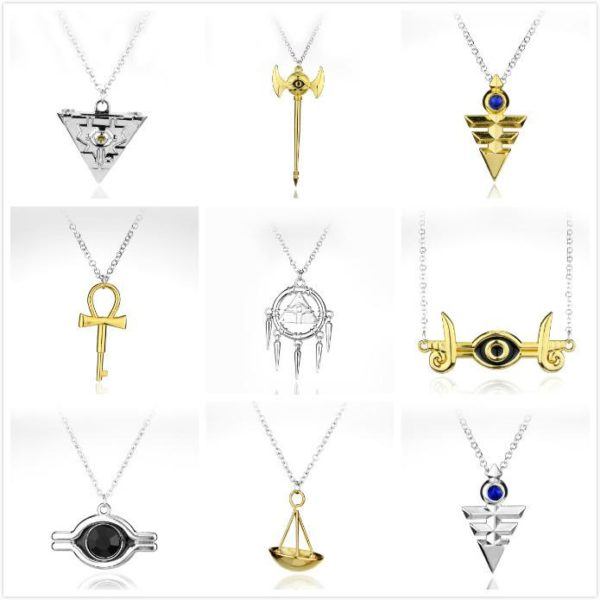 Multi Style Pyramid 3D Yu Gi Oh Necklace Anime Game Yugioh Millenium Pendant Jewelry Gold Plated Collier Yu-Gi-Oh! Les Objets Du Millénium - Livraison Gratuite !