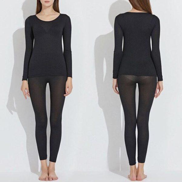 Noir femme 40794cee 9a8b 466d b3f7 da698fa1c92e Sous-Vêtements Thermiques Élastiques Sans Couture