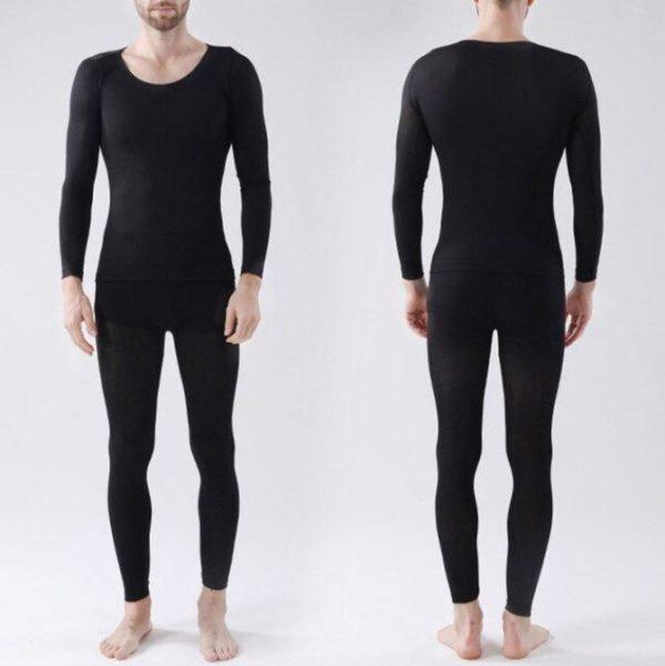 Noir homme Sous-Vêtements Thermiques Élastiques Sans Couture