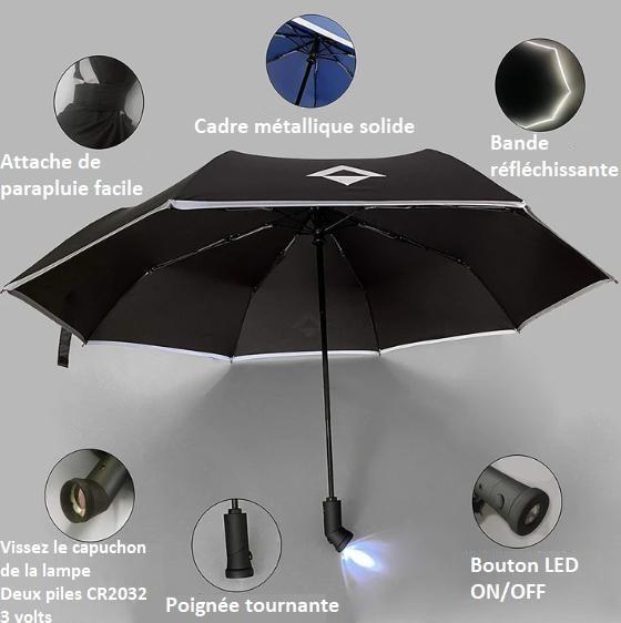 P1 0a08c6fc ab1f 4310 8cf5 27cac23be7bc Parapluie Inversé Avec Bande Réfléchissante - Brelaplus™