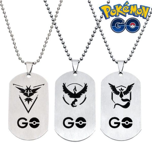 Pokemon Go men stainless steel necklace fine vintage body jewelry womens accessories choker necklaces pendants 3005 Collier Team Pokémon Go En Acier Inoxydable - Livraison Gratuite !