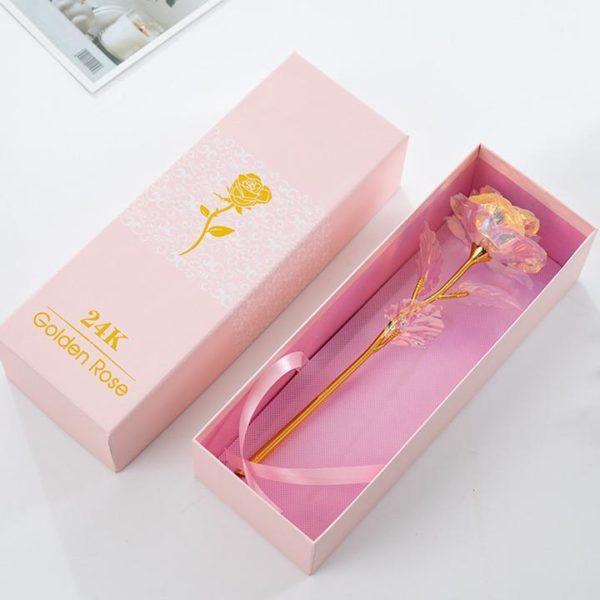 R11 Rose Rayonnante En Cristal Et Or Rose