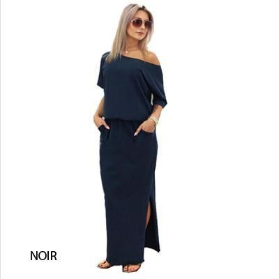 Maxi Robe Bardot Minute Mode Noir S