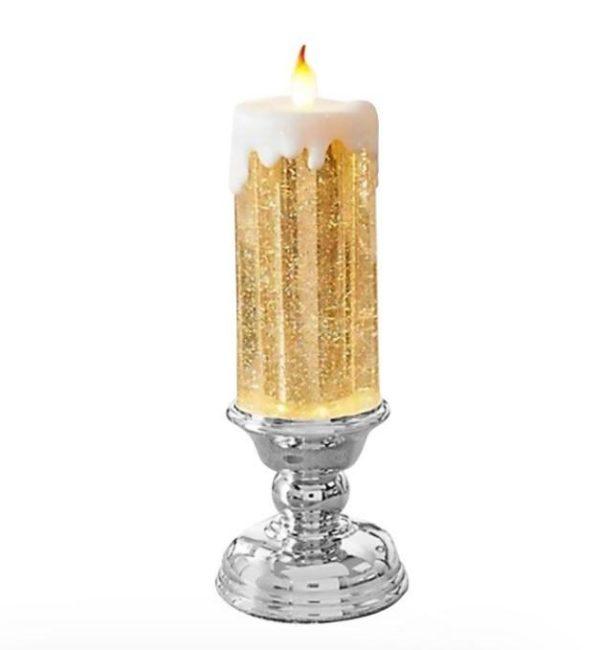 Bougie LED Rechargeable - Décoration De Noël Flash Ventes Socle argenté