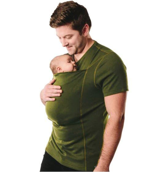T-shirt Porte-Bébé Kangourou Raton Malin Vert Homme XXL