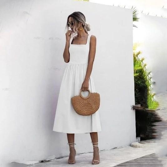 Robe Midi Élégante Minute Mode Blanc M