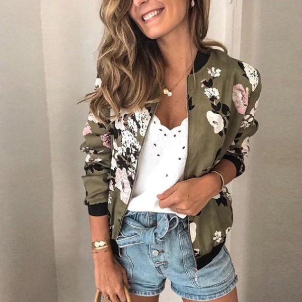 Veste vintage à fleurs Minute Mode Kaki XL