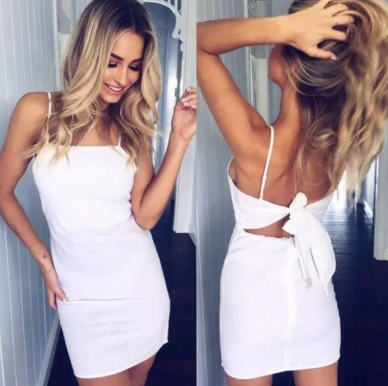 Robe élégante slim Minute Mode Blanc L